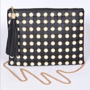 Handbags - Black Pearl Detail Clutch